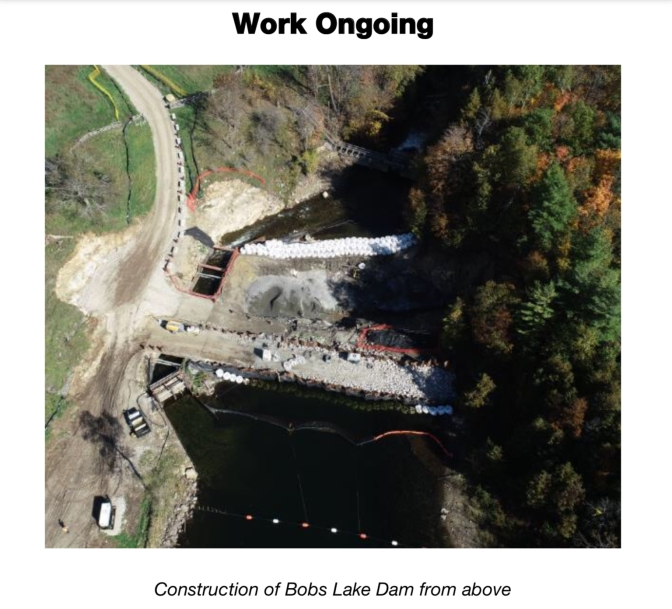 Bobs Lake Dam at Bolingbroke. Work Ongoing
