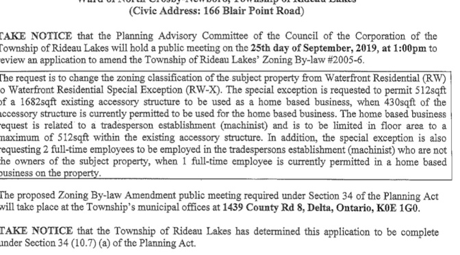 Request to change zoning 166 Blair Point Road from Waterfront Residential (RW) to Waterfront Residential Special Exception (RW-X)